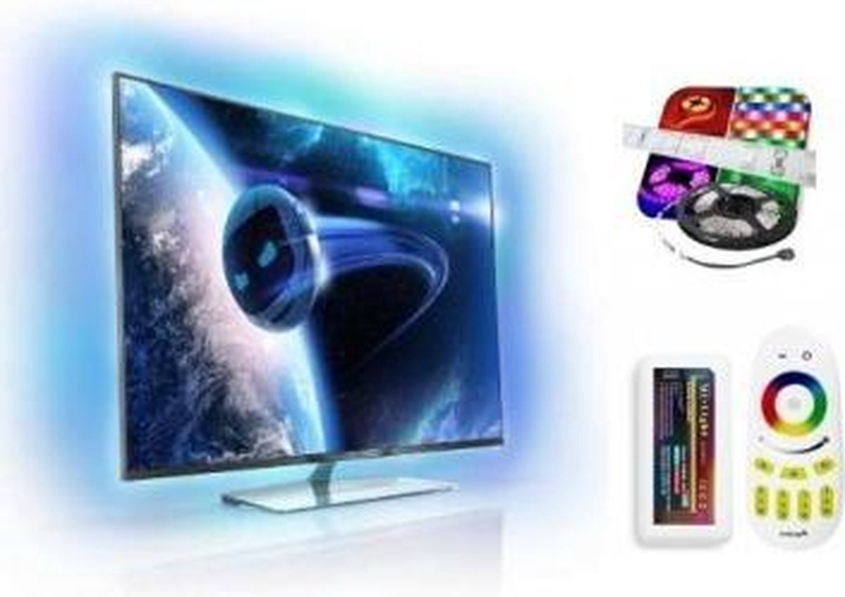 ABC-LED - Led strip - 32-40 inch - koud wit - TV led strip plug & play set - incl. WIFI