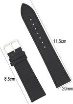 Horlogeband Leer- 20mm Aanzetmaat - Horlogebandje met Naad + Push Pin - Zwart - Sarzor