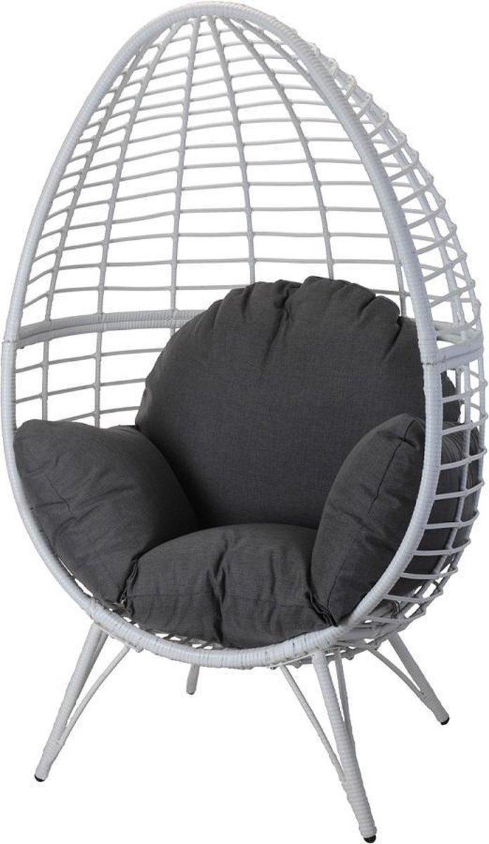 MaxxGarden Lounge stoel tuinstoel op poten ei vormige hangstoel grijs met kussen 132cm