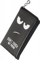 Zwart motief Don't Touch My Phone portemonnee etui tasje hoesje