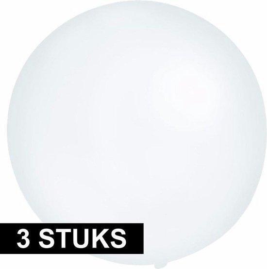 3x Grote ballonnen 60 cm transparant - Geschikt voor lucht of helium - Feest/Verjaardag artikelen