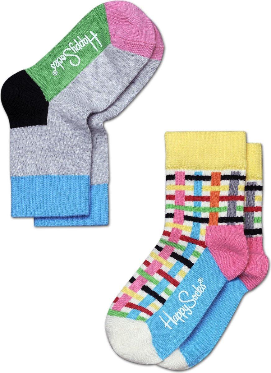 Happy Socks Kids 2-Pack Blocks & Stripes, 7-9 jaar, maat 31-34 - Happy Socks