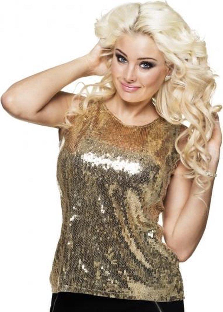 Onwijs bol.com | Dames top goud met pailletten - glimmend dames shirt ET-85