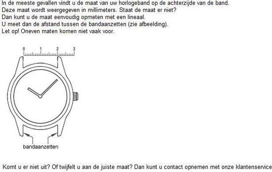Horlogeband Silicone Chrono Zwart - 22mm - Hs