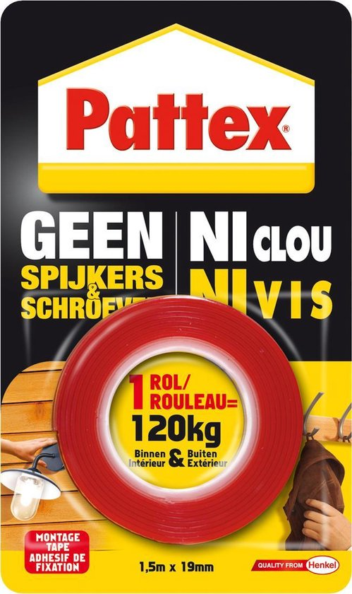Pattex Montagetape - 1,5 m x 19 mm - Rood