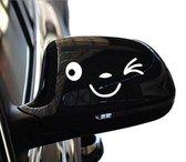 Auto sticker met smiley wit