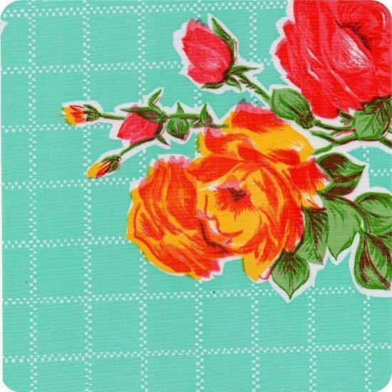 Buiten tafelkleed/tafelzeil mintgroen/rozen 120 x 200 cm rechthoekig -  Kitsch Kitchen - Tuintafelkleed tafeldecoratie
