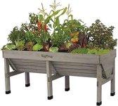 Vegtrug verhoogde kweektafel grijs - 180 x 76 x 80 cm - set van 2 stuks