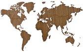 MiMi Innovations Exclusieve Houten Wereldkaart - Muurdecoratie - 130x78 cm/51.2x30.8 inch - Walnoot