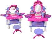Kaptafel Set Met Kruk Stoel / Spiegel & Accessoires - Speelgoed Kinder Make-Up Tafel Kastje Voor Meisjes - Roze