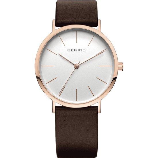 BERING 13436-564 – Horloge – Leer – Rosékleurig – Ø 36 mm