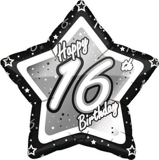 16 jaar folieballon zwart/zilver