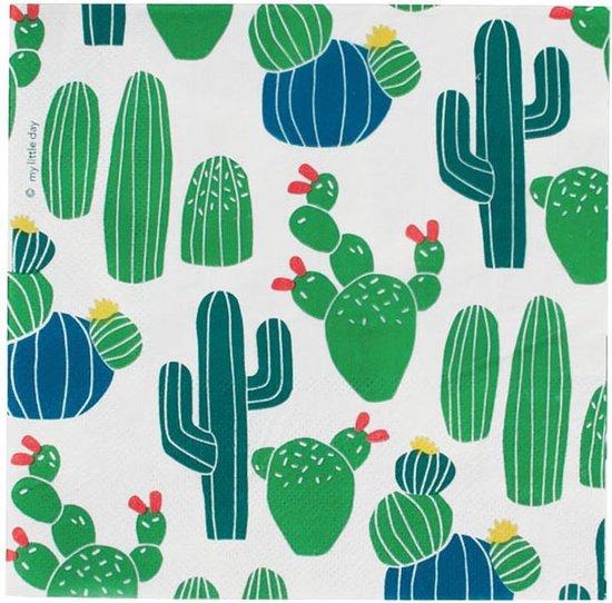 Papieren Servetten - Wit met Cactussen