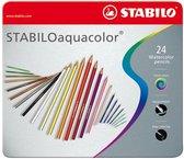 STABILO Aquacolor - Premium Aquarel Kleurpotlood - Metalen Etui Met 24 Kleuren