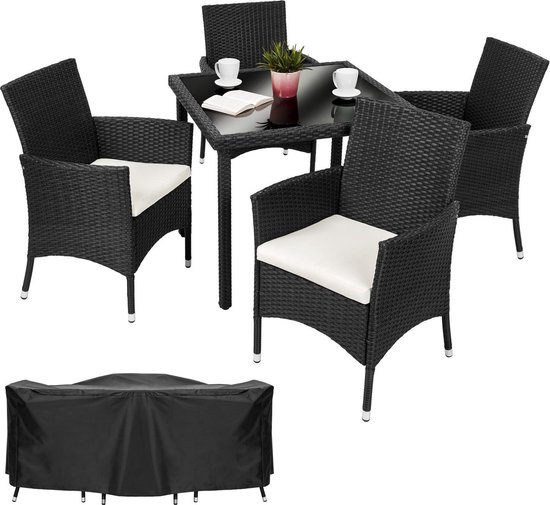 Wicker Eettafel Set Met 8 Stoelen En 4 Krukken Zwart.Bol Com Tectake Wicker Sevilla Tuinset Zwart 4 Stoelen En 1