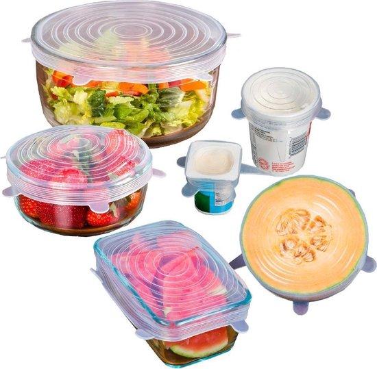 Senobia Kitchen Princess Siliconen Deksels - Herbruikbaar - 6 Stuks - Transparant