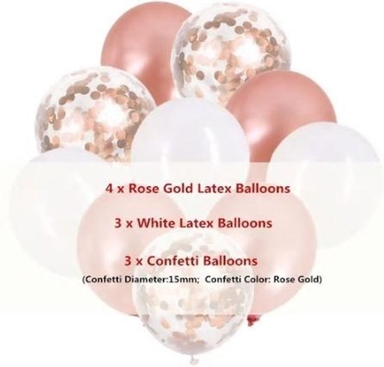 Ballonnen Versiering Pakket -  10 Stuks - Confetti balonnen - Rose Wit