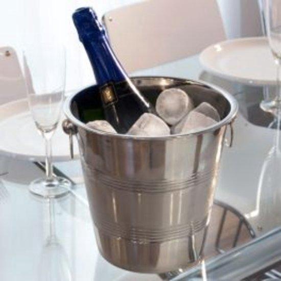 RVS Champagne Emmer - Wijnkoeler - Wijn Emmer Cooler- Wijnfles Koelemmer - Ijsemmer - Zilver Kleurig - Merkloos