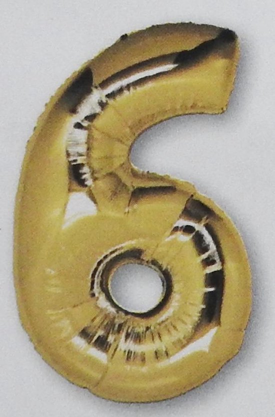 folie ballon cijfer 6, goud 92 cm
