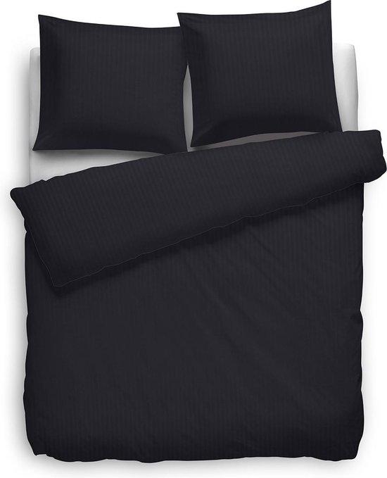 HNL dekbedovertrek Satijnstreep - Night Black 140x220