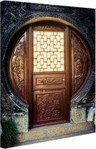 Traditionele Chinese deur  Canvas 80x120 cm - Foto print op Canvas schilderij (Wanddecoratie woonkamer / slaapkamer)