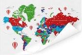 Kleurrijke wereldkaart op een witte achtergrond Poster 120x80 cm