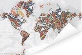 Wereldkaart met kleurrijke versiering Poster 180x120 cm XXL / Groot formaat!