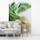 Fotobehang vinyl - Close-up van een bos van baby knolrapen breedte 270 cm x hoogte 400 cm - Foto print op behang (in 7 formaten beschikbaar)