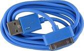 2 stuks - iPhone 4 USB oplaad kabel lichtblauw | 1 METER kabeltje voor iPhone 4/4G/4S/3G/3GS/iPod 1/2/3