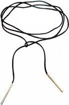 Lovelymusthaves VeterKetting - Dames - veter van zwart suède leer met buisjes in kleur goudkl