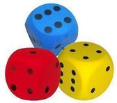 3x Dobbelsteen Groot - 15 cm - Soft/Foam in geel, blauw en rood