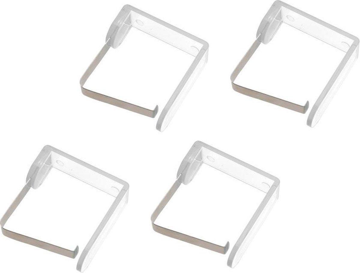 Tafelkleedklem transparant - 4 stuks - kunststof met rvs klem - tafellaken klem