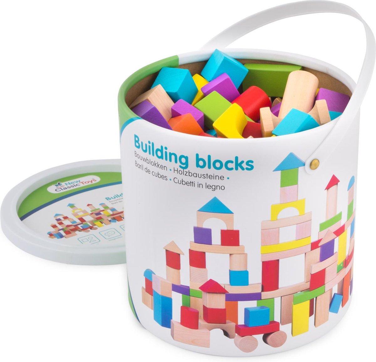 New Classic Toys 100 Bouwblokken in Ton - Verschillende Kleuren