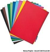 Benza Papier - Gekleurd Printpapier Hobbykarton 160 Gr. (Gram) A4 - Assorti