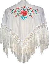 Spaanse manton - omslagdoek - voor kinderen - wit met bloemen - bij Flamencojurk