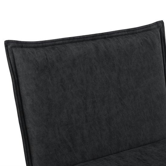 Relaxfauteuil met voetenbank - Alcantara kunstleer - zwart - en.casa