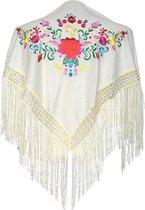 Spaanse manton - omslagdoek - voor kinderen - creme wit met bloemen - bij Flamencojurk