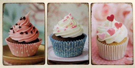 Bol Com Decoratieve Metalen Plaat Reeks Van 3 Stuks Cupcakes
