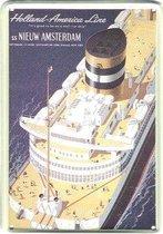 Holland America Line reclame ss Nieuw Amsterdam reclamebord 20x30 cm