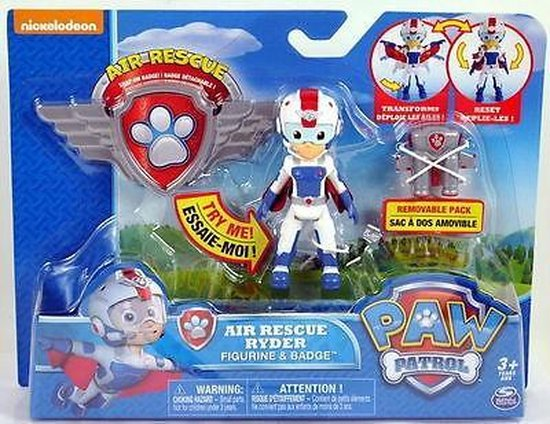 Removable Pack /& Badge Paw Patrol Air Rescue Ryder Figure