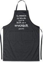 Mijncadeautje - Luxe schort - zwart - Alle mannen zijn gelijk - november