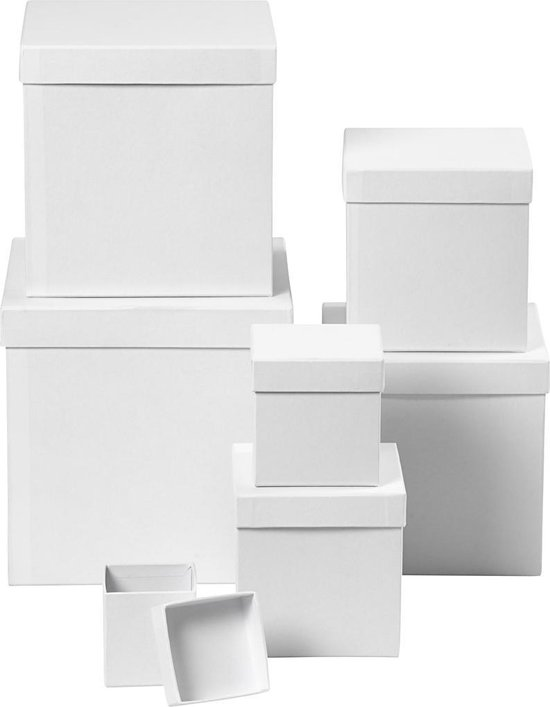 Vierkante dozen, afm 7,5+10+13+15+18+20+23 cm, h: 7,5+10+13+15+18+20+23 cm, 7 stuks, wit