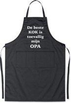 Mijncadeautje Schort De beste kok is toevallig mijn OPA - Mooie - grappige - leuke Keukenschort - Zwart