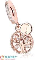 Zilveren bedel Geloof en Geluk |  Bedel levensboom | Klein Rosé | 925 Sterling Zilver | Bedels Charms Beads | Past altijd op je Pandora armband | direct snel leverbaar | Miss Charming