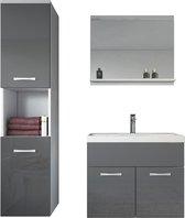 Badplaats - Badkamermeubel Montreal 60cm - Hoogglans grijs - Badmeubel met spiegel en zijkast