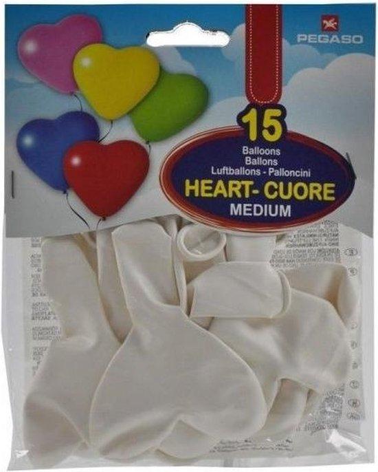 Pegaso Ballonnen Hart Wit 15 Stuks 21 Cm