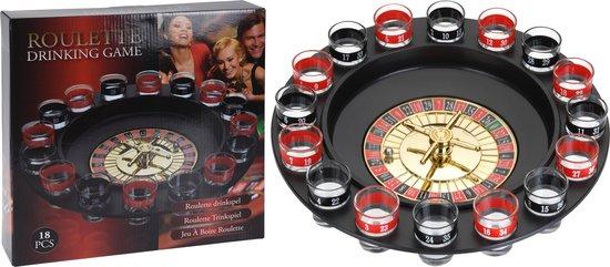 Thumbnail van een extra afbeelding van het spel 19-Delig roulette drinkspel - met 16 shots glazen - Ø30cm diameter