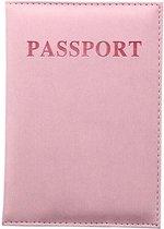 (Licht) Roze leren Paspoorthouder - Paspoort Cover - Cover - Mapje