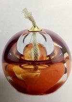 "Glazen urn. Asbestemming. ""Olielampje"" oranje-rose. 8 cm hoog."