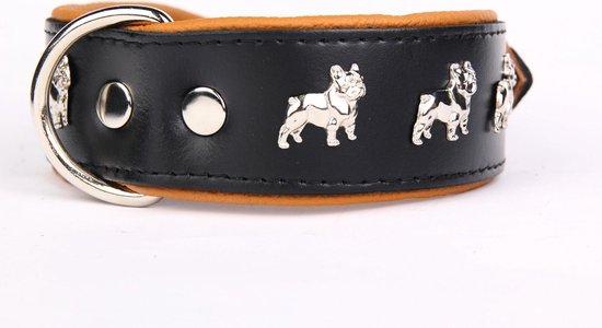 Dog's Companion leren halsband - Franse Bulldog - 40-47 cm x 50 mm - zwart/bruin